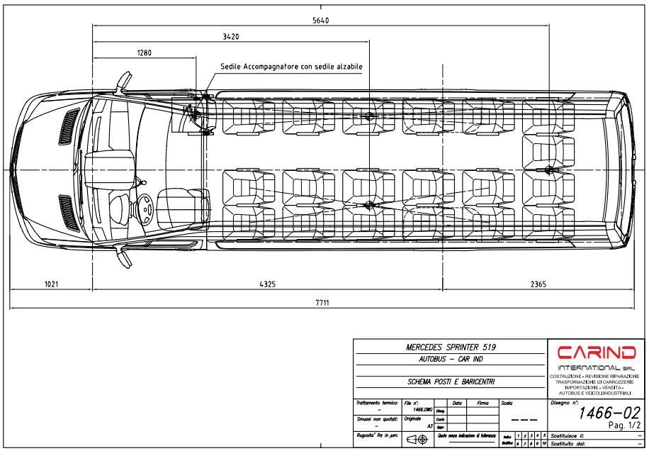 scheda tecnica autobus turismo Mercedes Benz sprinter plus