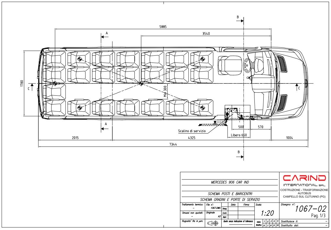 Autobus cabrio scheda tecnica Mercedes Benz 906 T