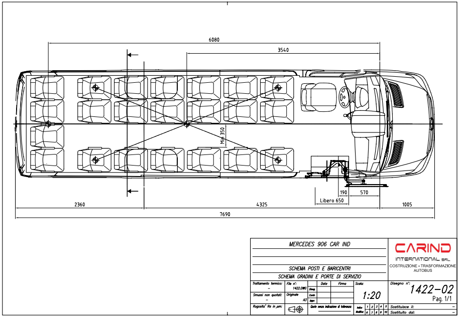 scheda tecnica autobus urbano Mercedes Benz sprinter 906